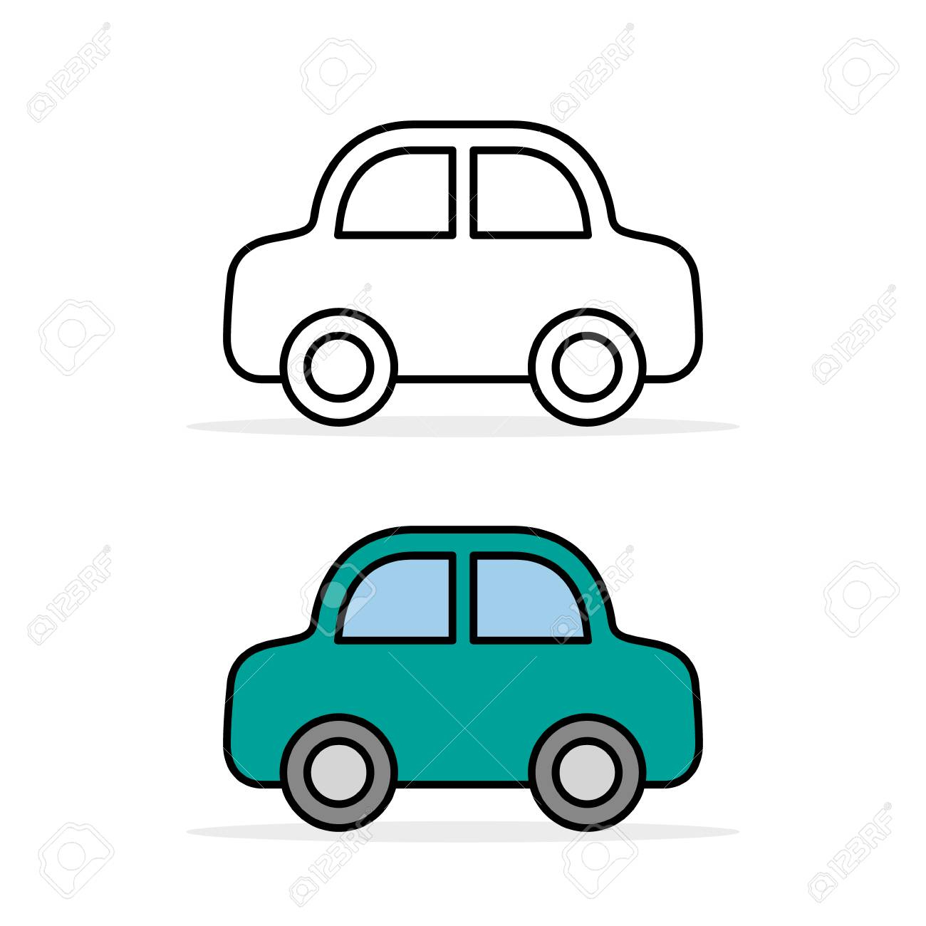 Car Icon Set, Outline And Color, Vector Line Flat Simple Cartoon.. serapportantà Dessiner Une Voiture Facile
