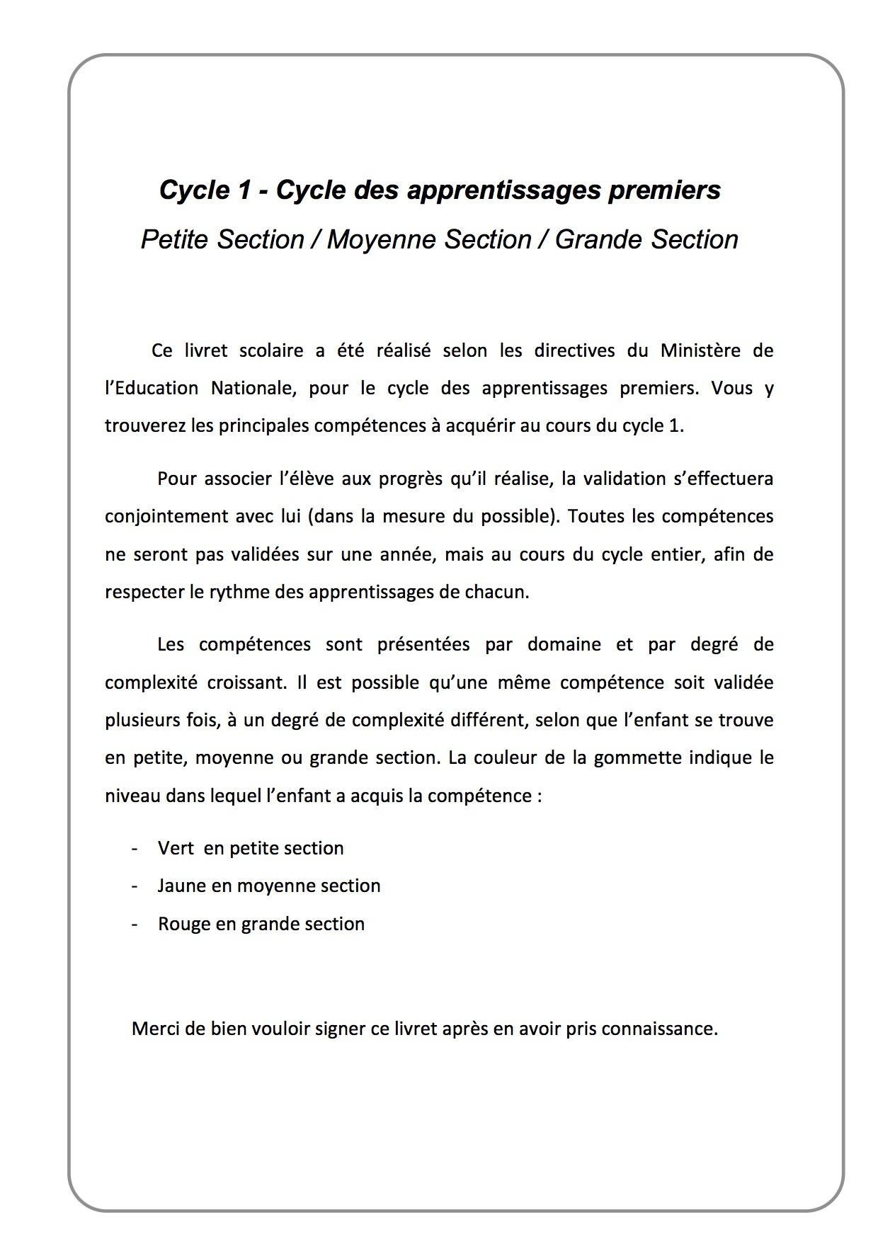 Carnet De Suivi Cycle 1 Ps/ms/gs - La Classe De Luccia ! à Cours Moyenne Section Maternelle