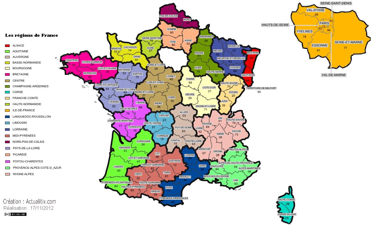 Carte Administrative Des Régions De France - Carte Des pour Carte De France Par Régions Et Départements