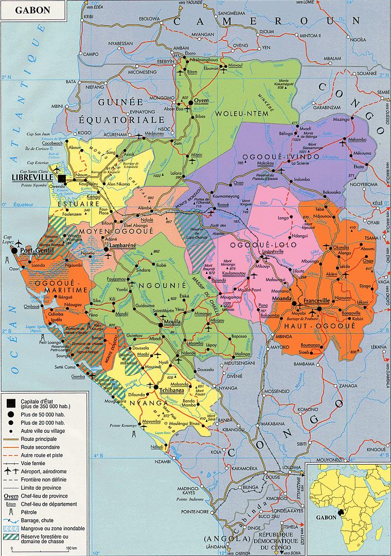 Carte Administrative Du Gabon (D'après | Download intérieur Departement Et Chef Lieu