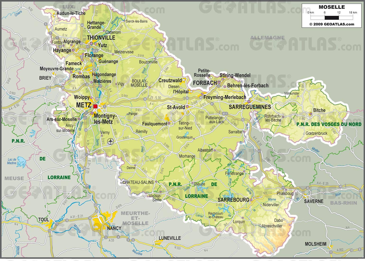 Carte : Carte Moselle encequiconcerne Département 57 Carte