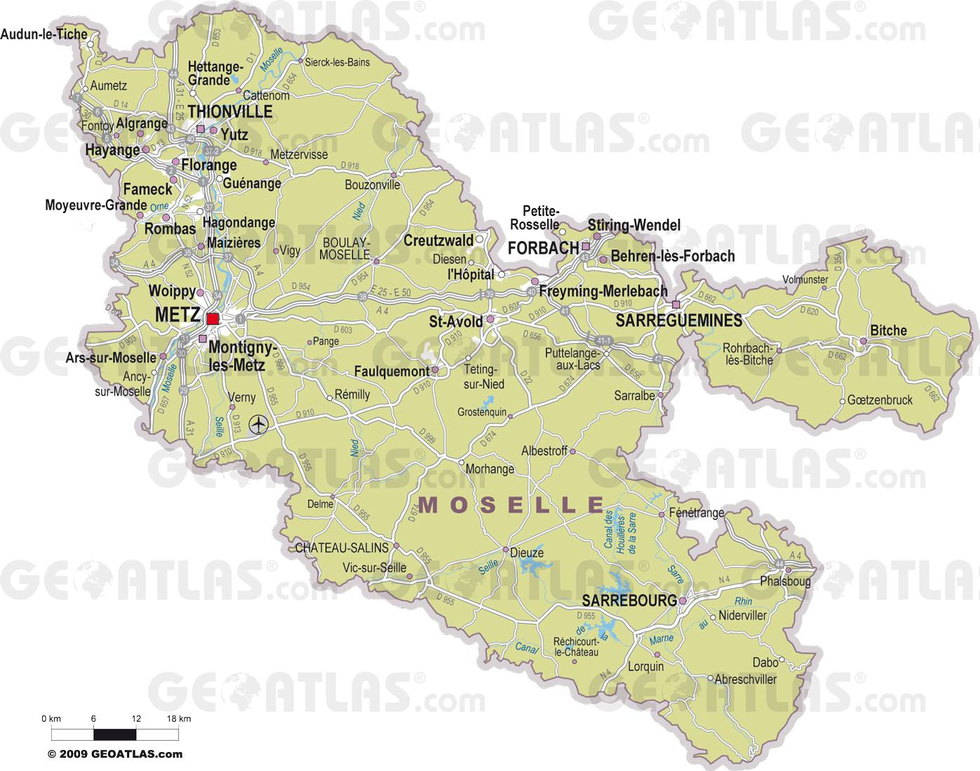 Carte : Carte Moselle serapportantà Département 57 Carte