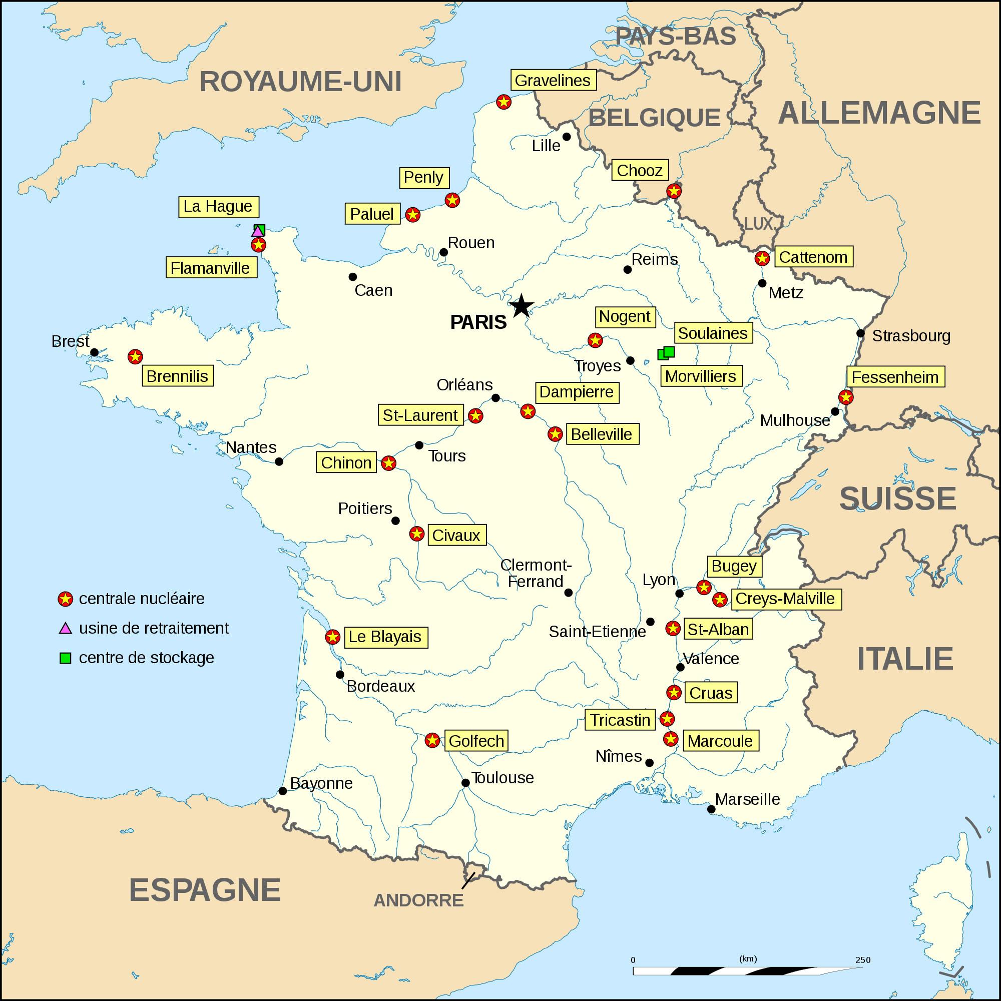 Carte Centrales Nucléaires De France, Carte Des Centrales destiné Carte De France Des Fleuves
