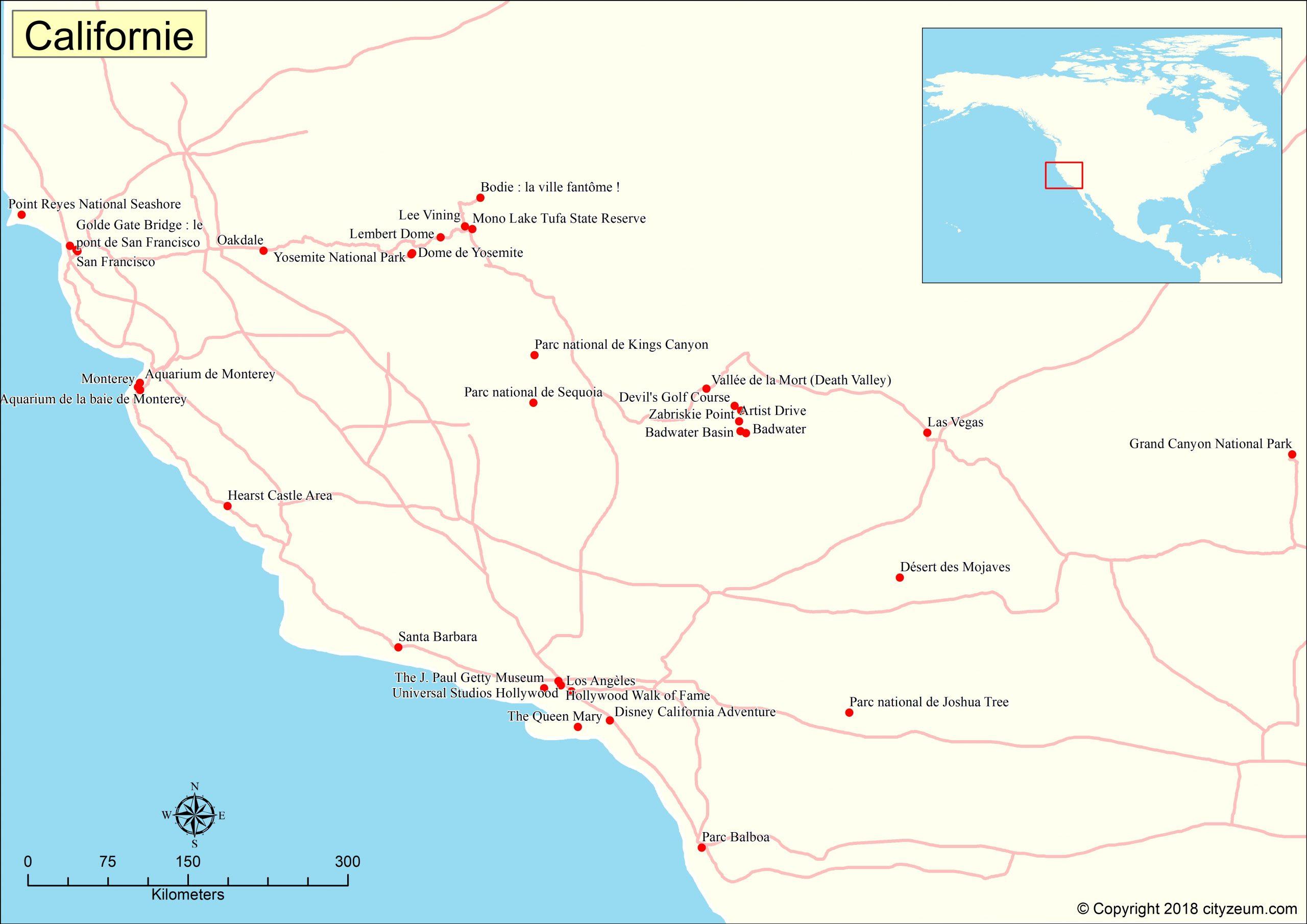 Carte De Californie Plan Des 84 Lieux À Voir pour Placer Des Villes Sur Une Carte