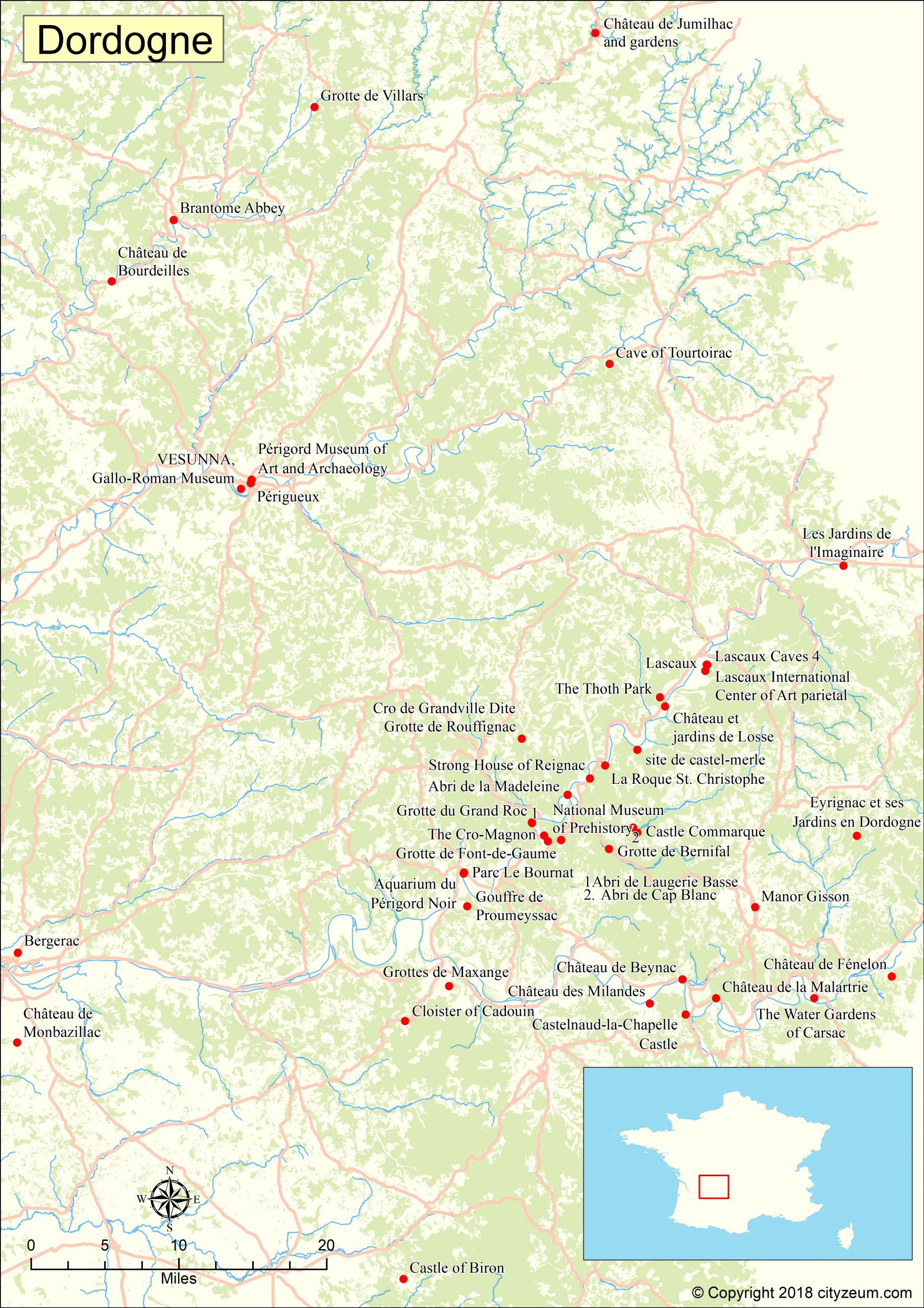 Carte De Dordogne Plan Des 11 Lieux À Voir concernant Carte Du Sud De La France Détaillée