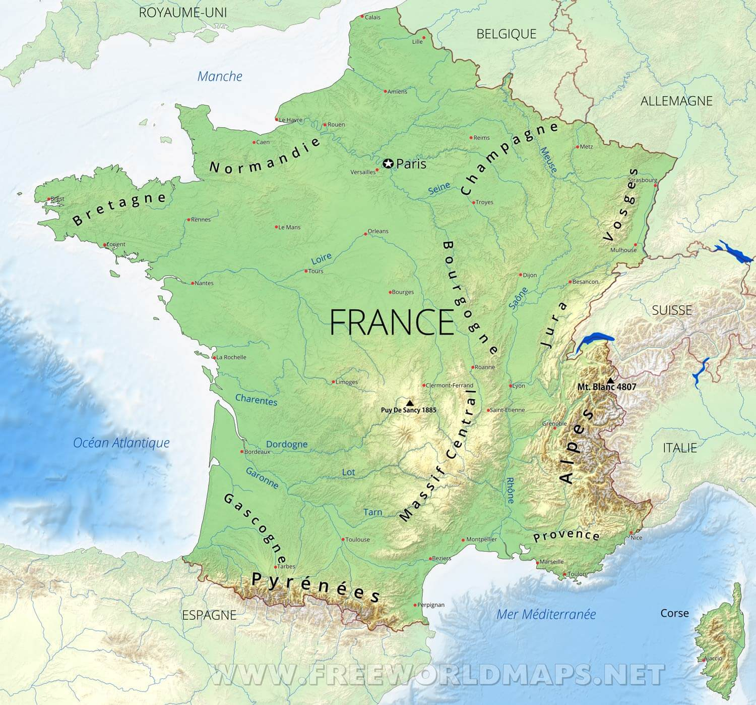 Carte De France à Carte Géographique De France
