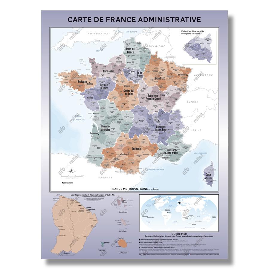 Carte De France Administrative - Modèle Aventurine - Affiche 60X80Cm à Le Découpage Administratif De La France