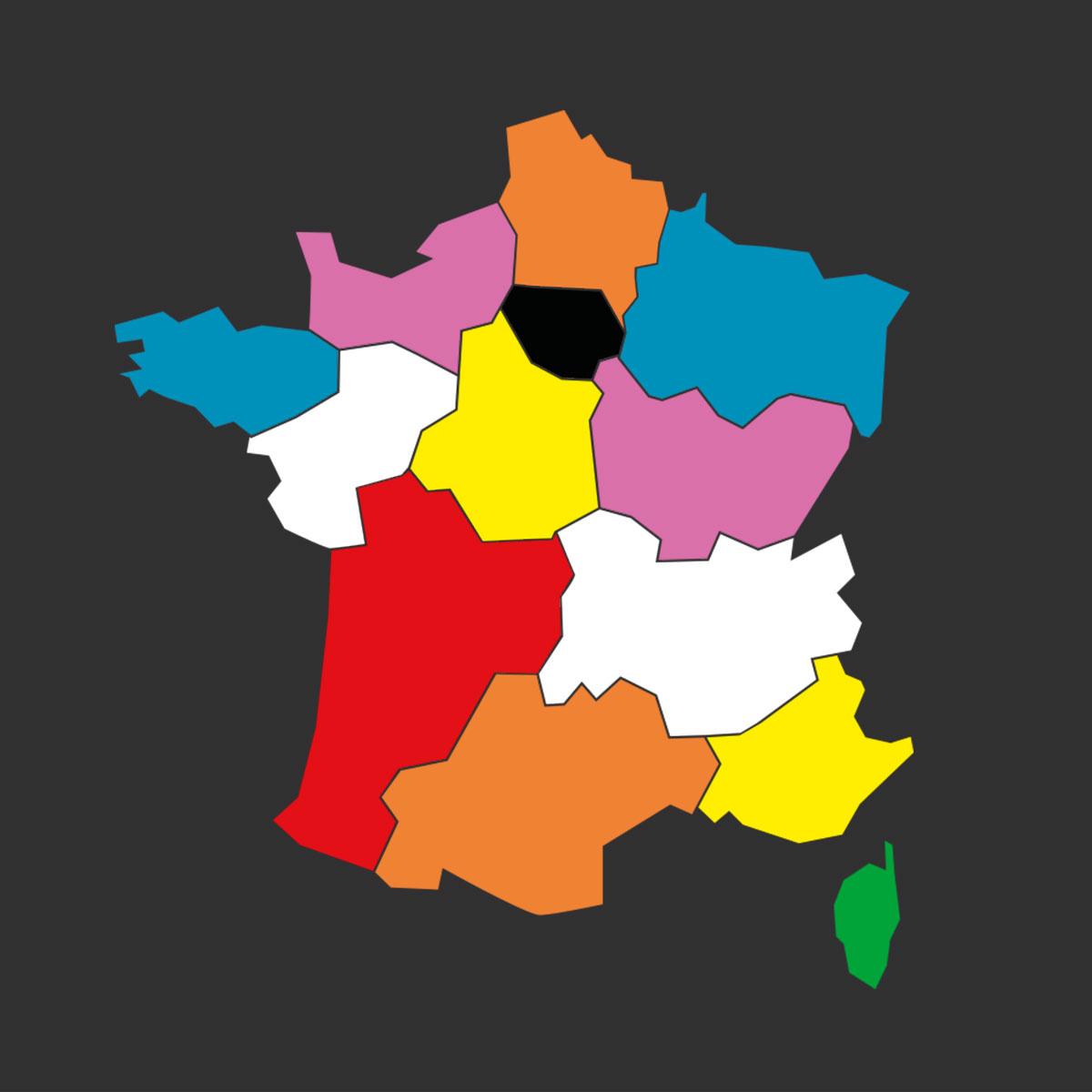 Carte De France , Aire De Jeu Préfabriquée Adhésive, 2650X2500 Mm intérieur Jeu Sur Les Régions De France