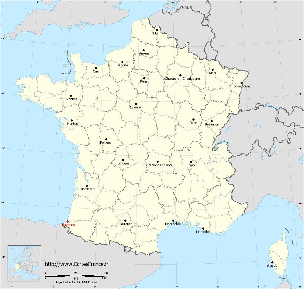 Carte De France: Carte De France Bayonne concernant Image De La Carte De France