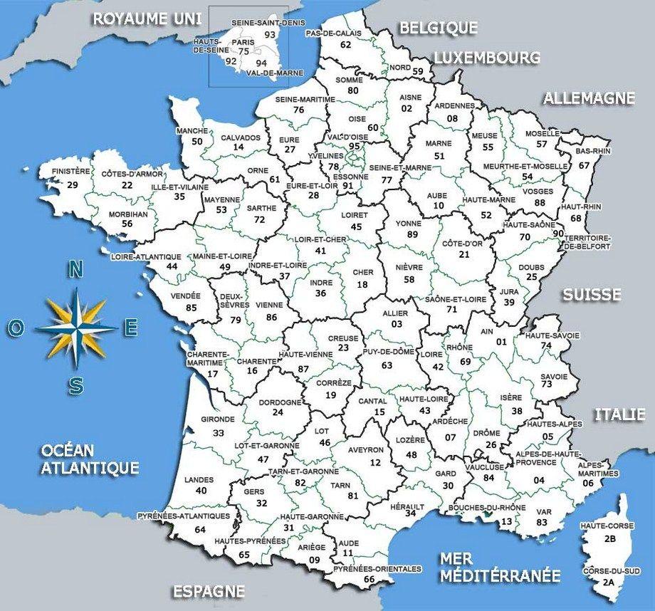 Carte De France Départements | Carte De France Département à Carte De France Avec Villes Et Départements