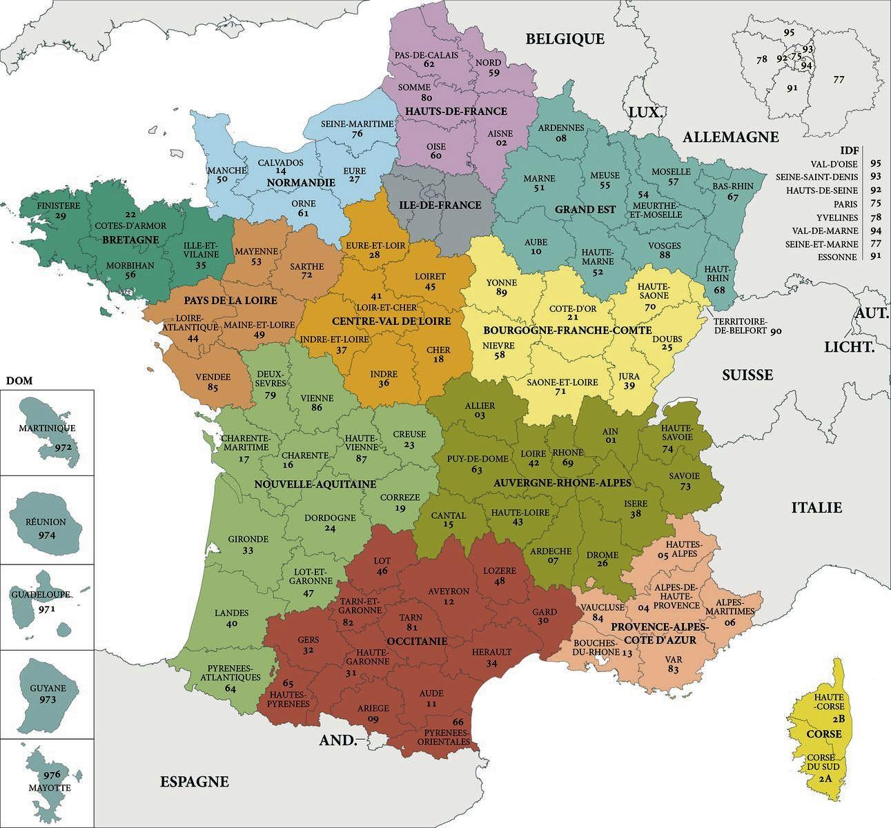 Carte De France Departements : Carte Des Départements De France dedans Les 22 Régions De France Métropolitaine
