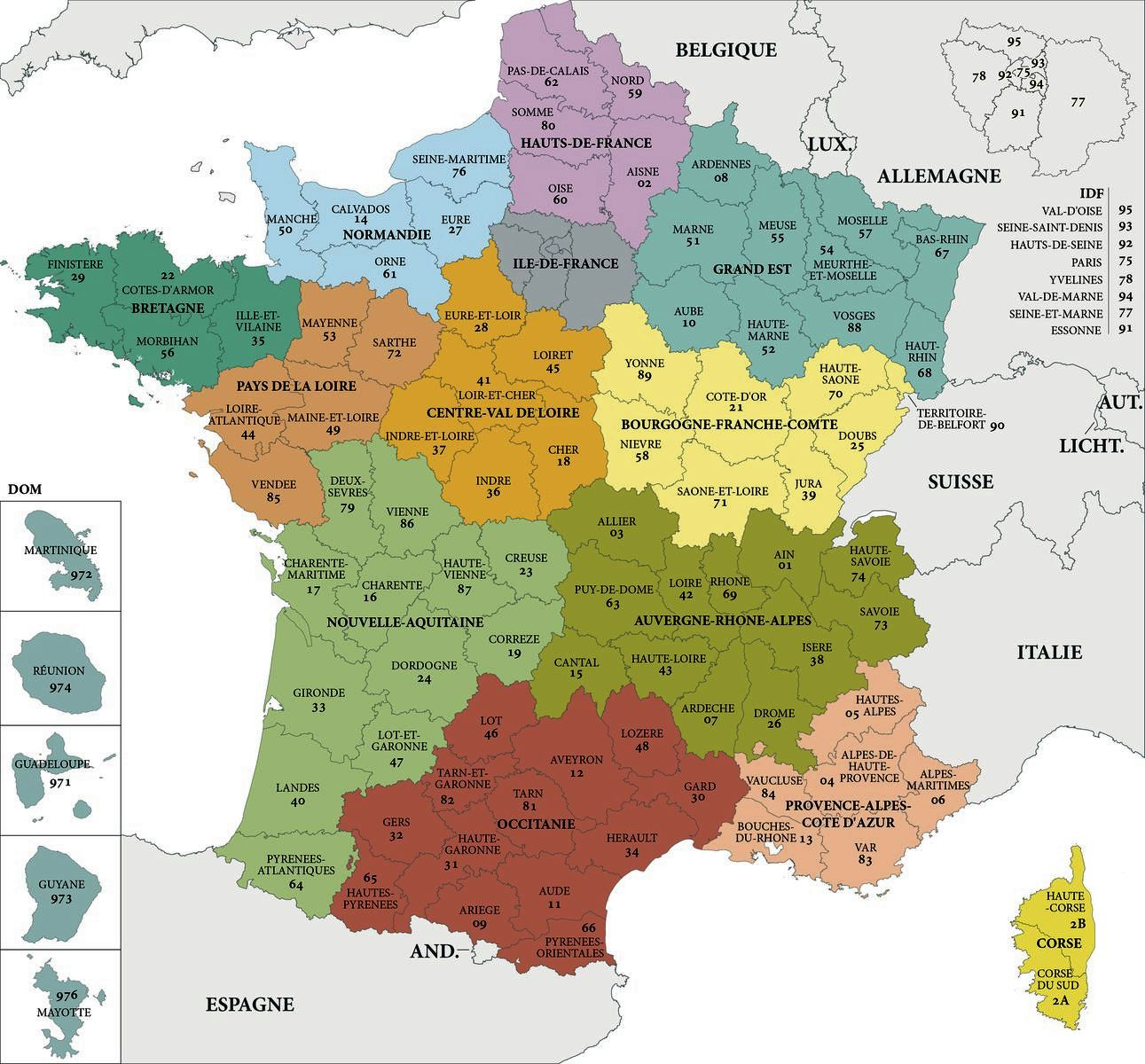 Carte De France Departements : Carte Des Départements De France encequiconcerne Les Numéros Des Départements