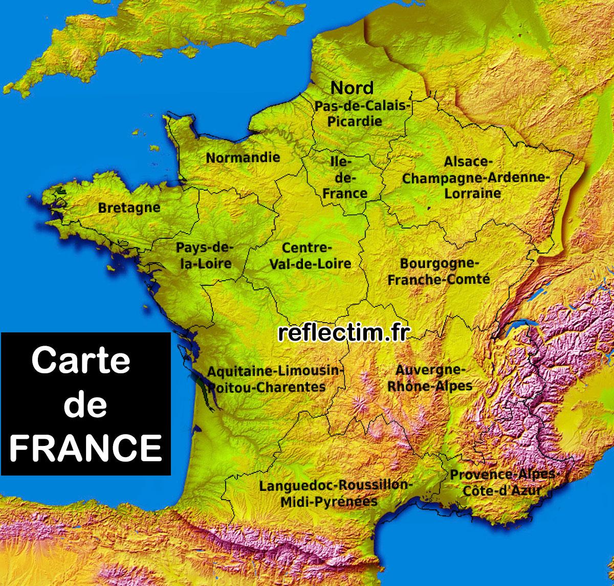 Carte De France Départements Régions - Voyages - Cartes intérieur Carte De France Par Régions Et Départements
