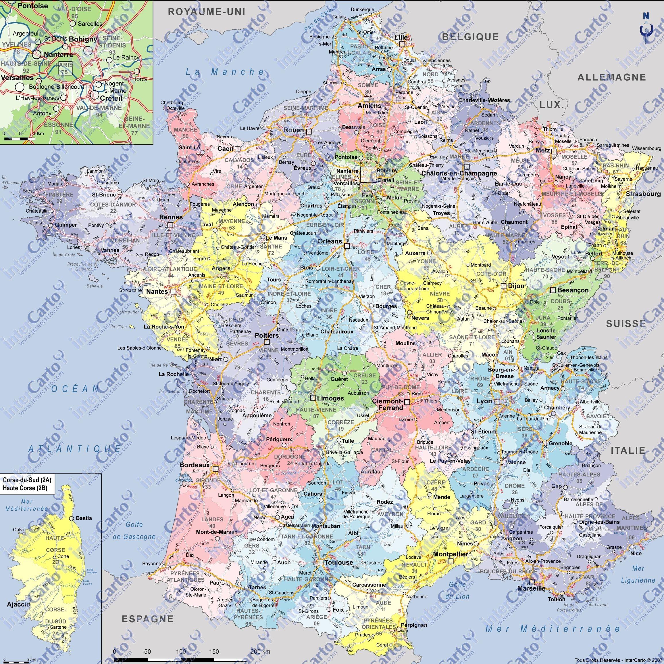 Carte De France Départements Villes Et Régions   Carte De concernant Carte De France Avec Villes Et Départements