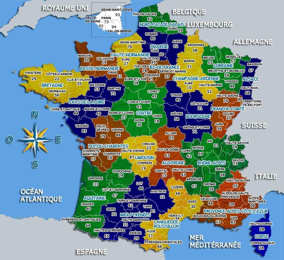 Carte De France Départements Villes Et Régions   France à Département De La France Carte
