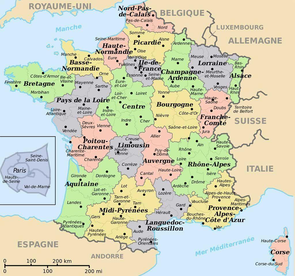 Carte De France Départements Villes Et Régions | France Map encequiconcerne Carte Des 22 Régions