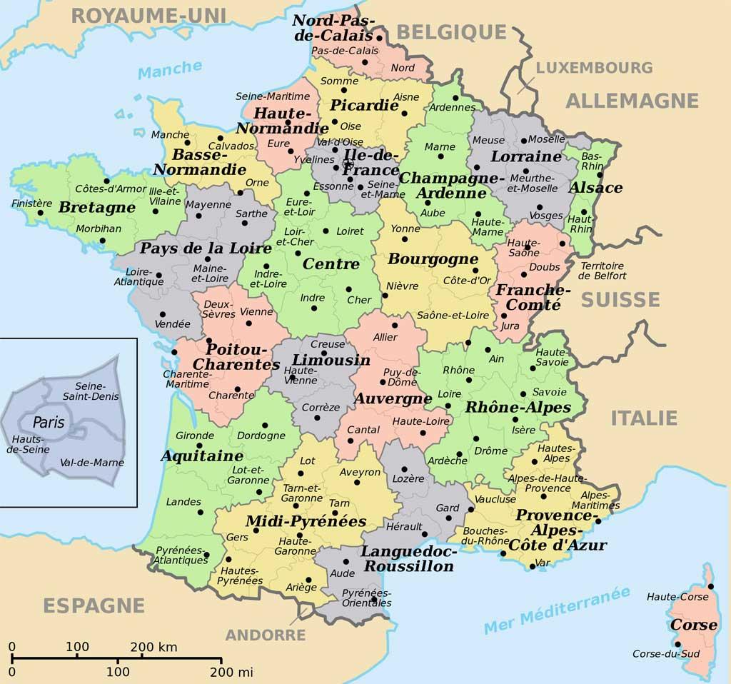Carte De France Départements Villes Et Régions » Vacances destiné Carte De La France Avec Les Grandes Villes