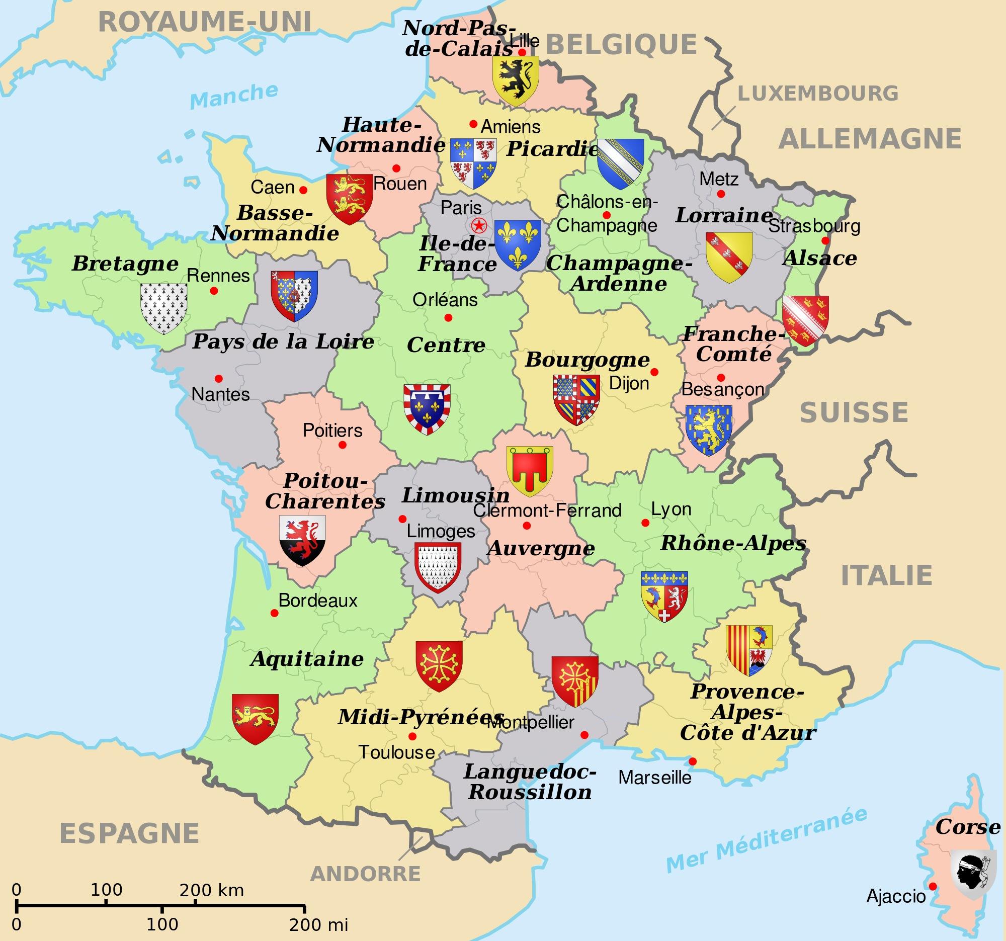 Carte De France Des 22 Anciennes Régions encequiconcerne Carte Des 22 Régions
