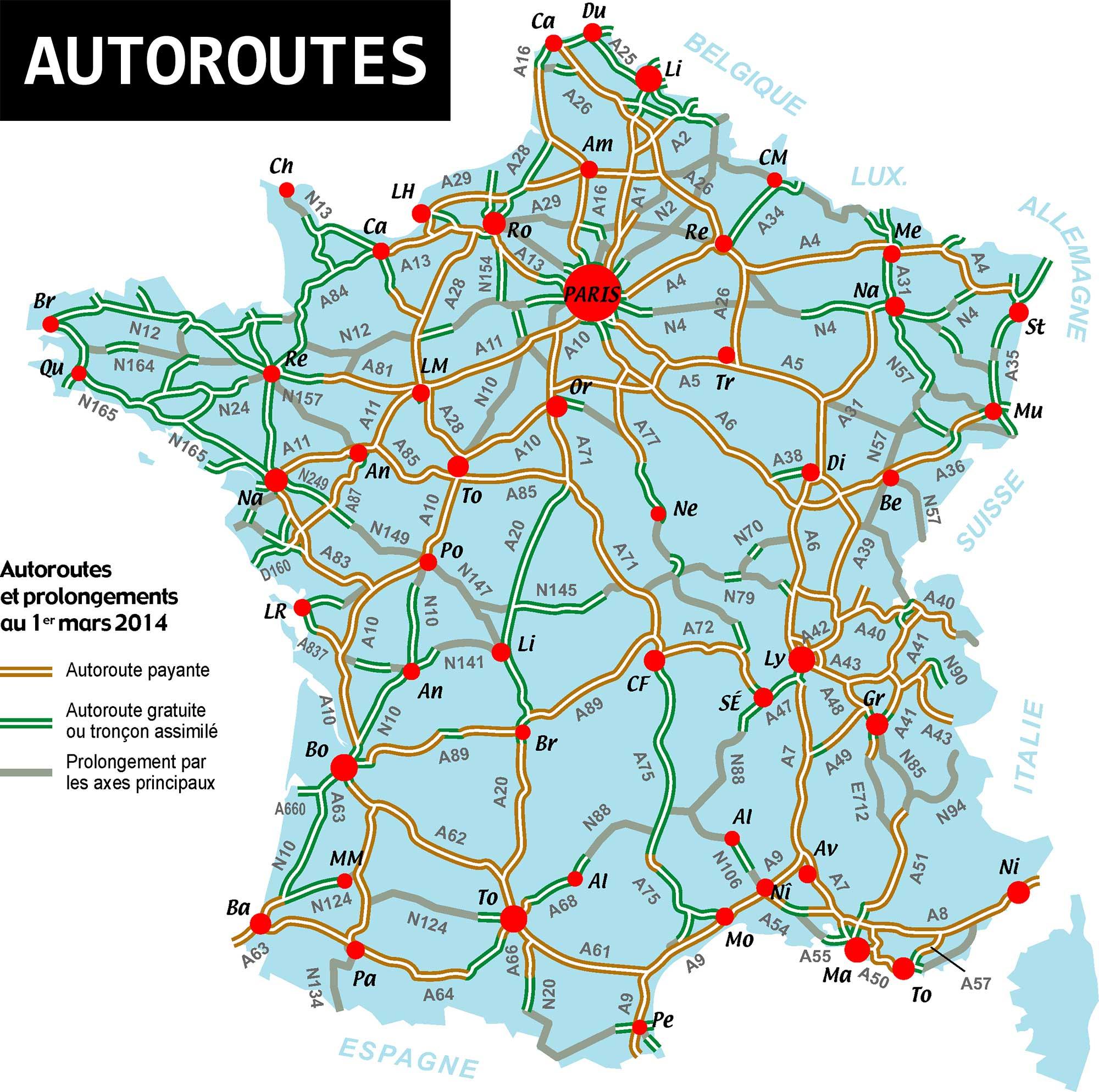 Carte De France Des Autoroutes - Arts Et Voyages encequiconcerne Carte Routiere France Gratuite