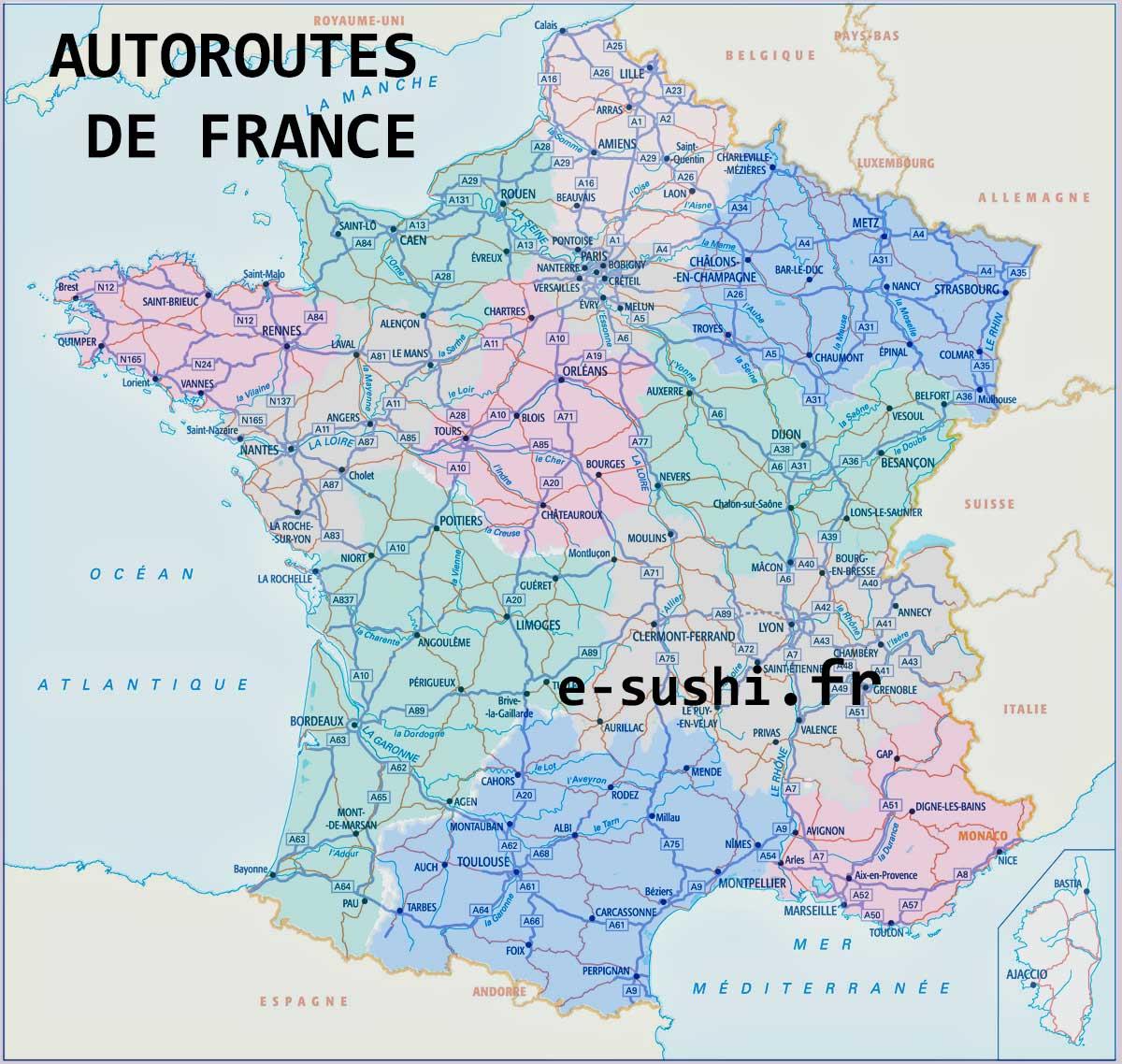 Carte De France Des Autoroutes - Arts Et Voyages pour Carte Routiere France Gratuite