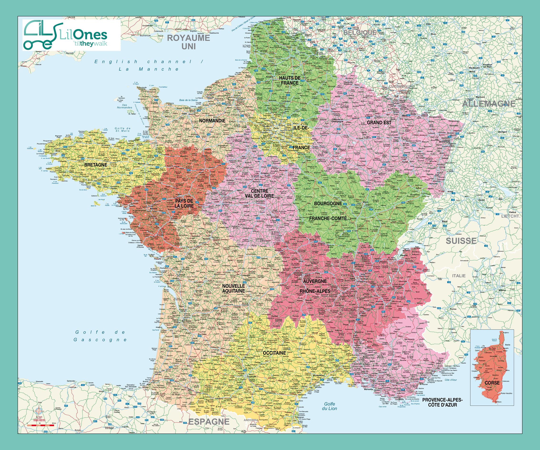 Carte De France Des Régions En Haute Qualité (Hq) concernant Le Découpage Administratif De La France