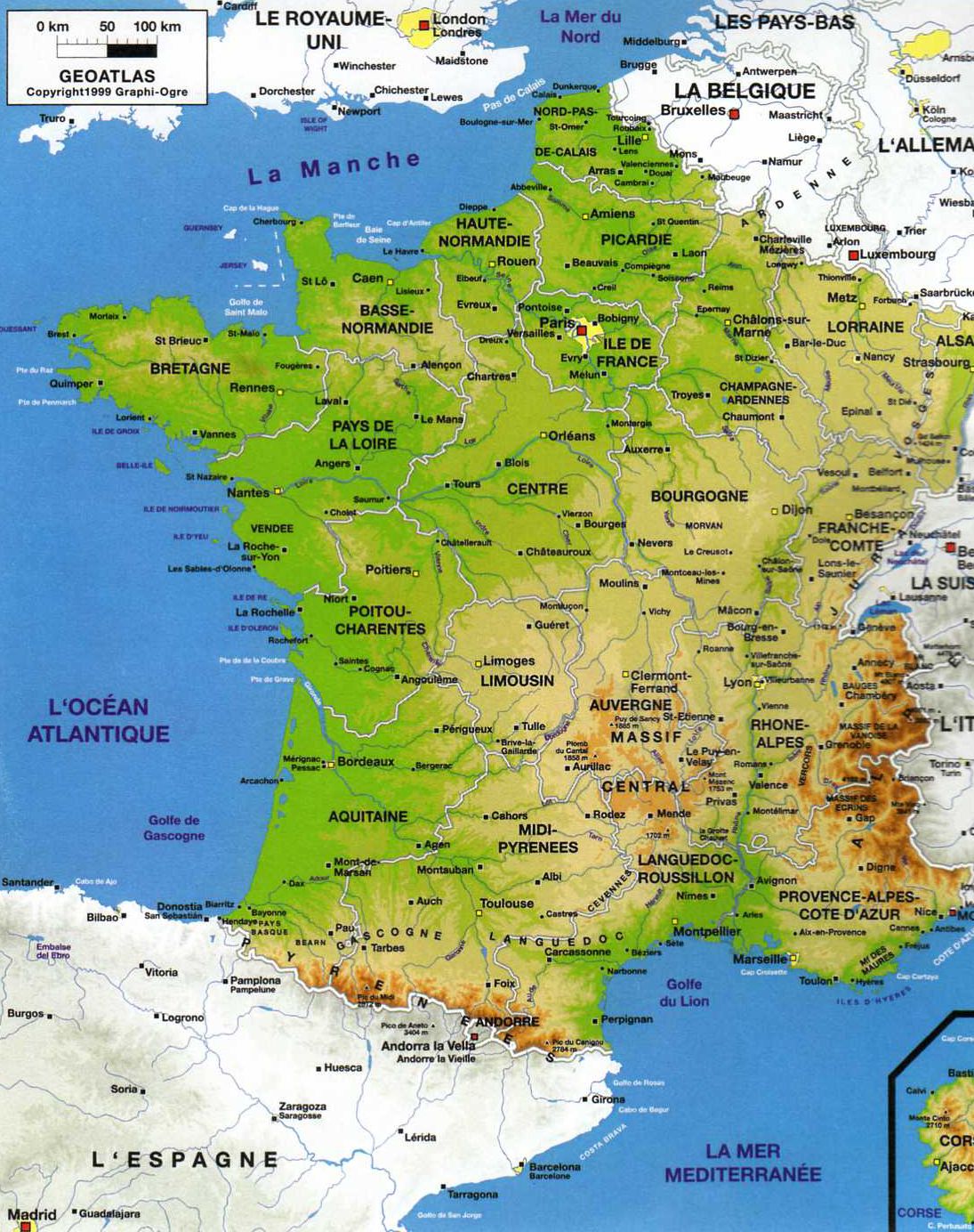 Carte De France Détaillée pour Carte Des Villes De France Détaillée