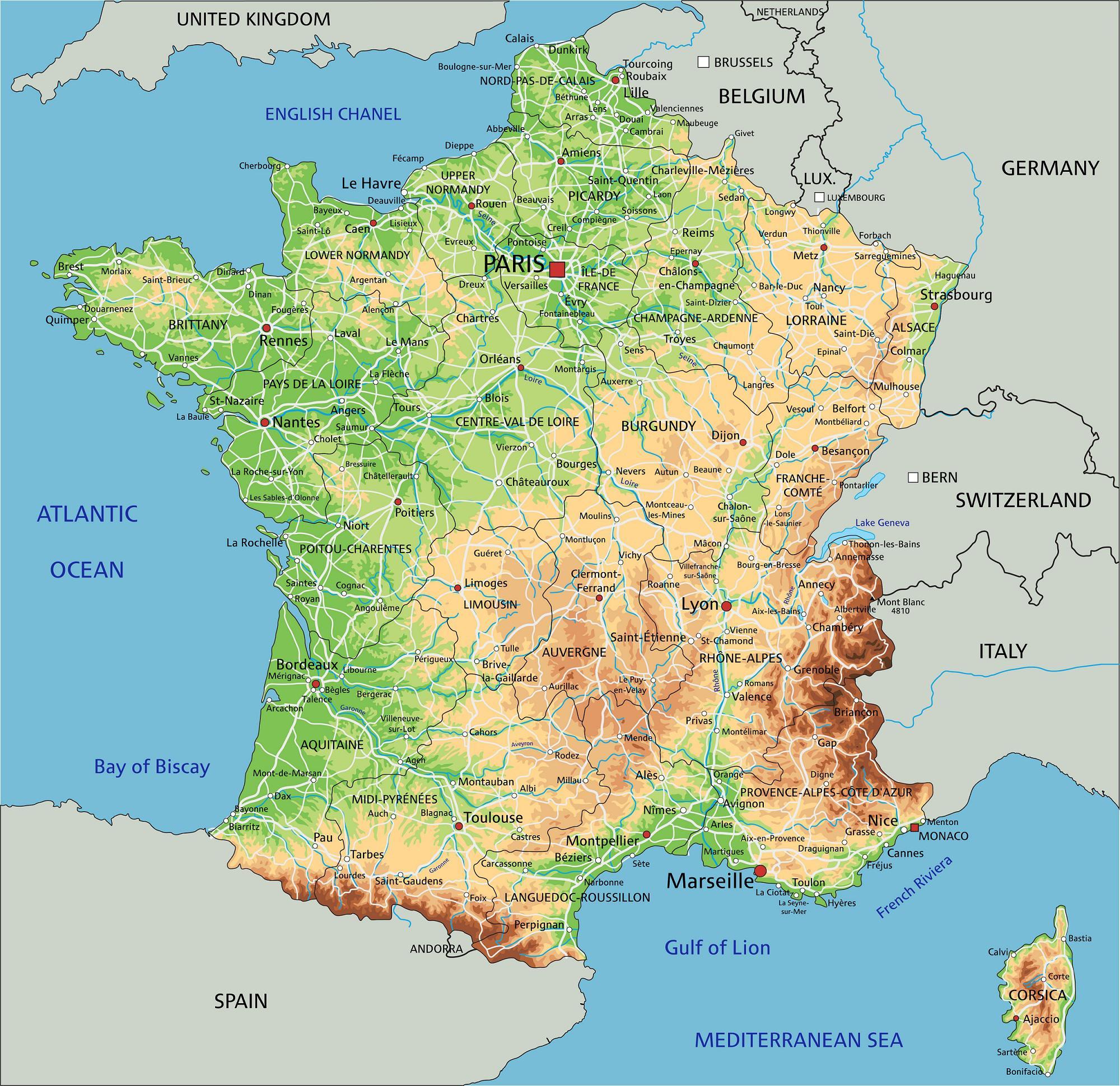 Carte De France - France Carte Des Villes, Régions pour Carte Des Villes De France Détaillée