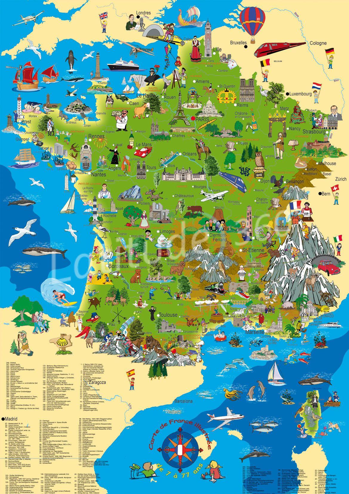 Carte De France Ludique   Géographie, Carte Touristique avec Image De La Carte De France