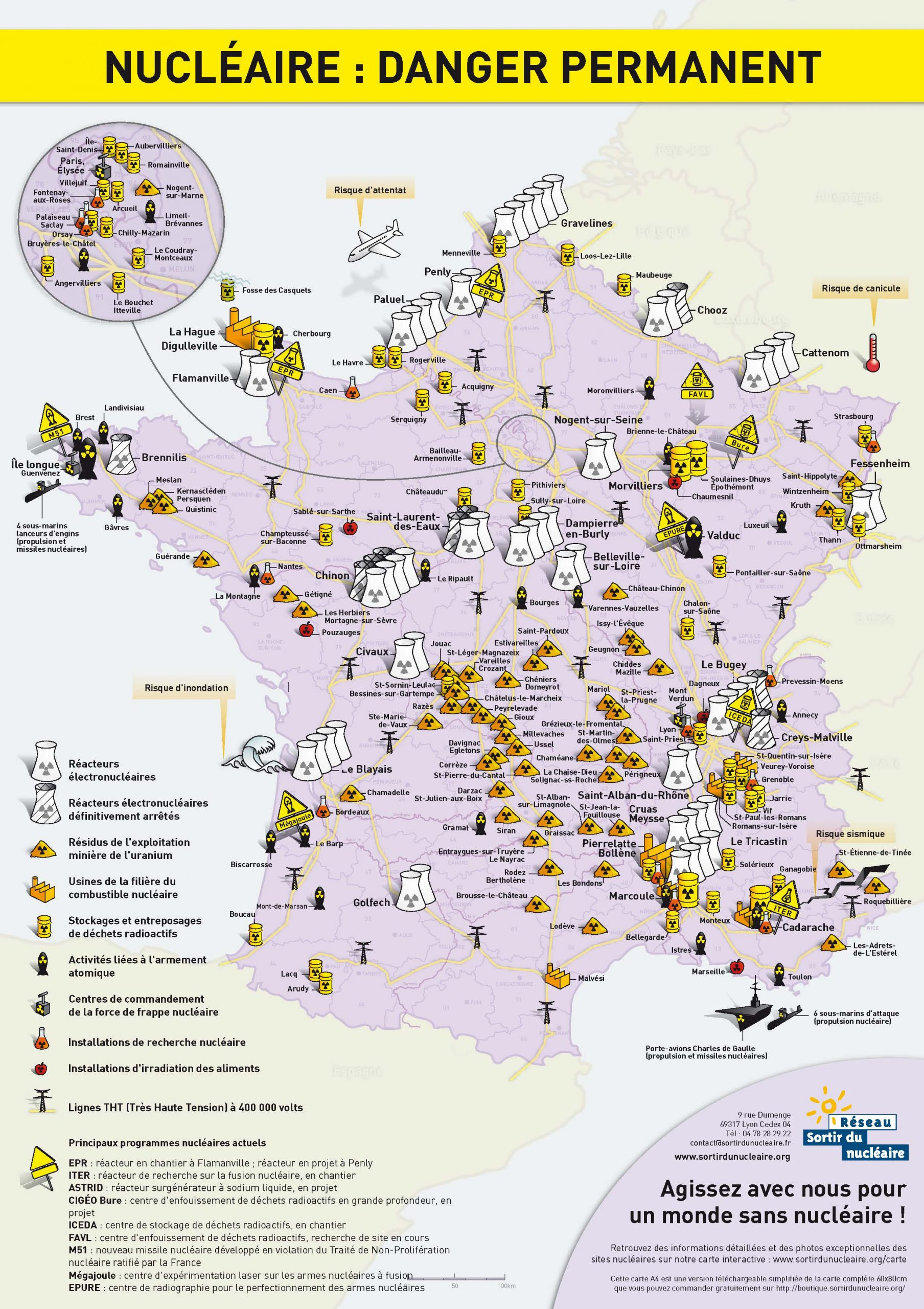 """Carte De France """"nucléaire : Danger Permanent"""" dedans Voir La Carte De France"""