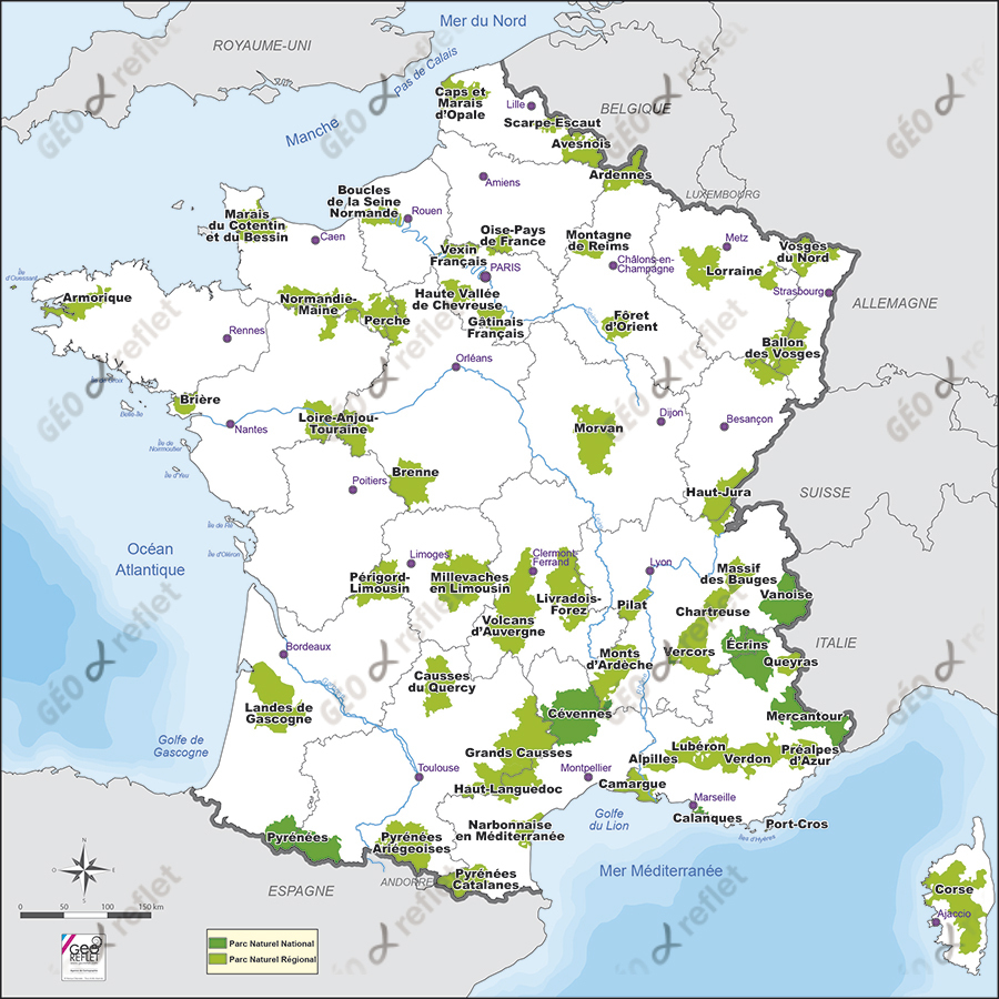 Carte De France Parcs Naturels Nationaux Et Régionaux Vecteur concernant Carte De France Dom Tom