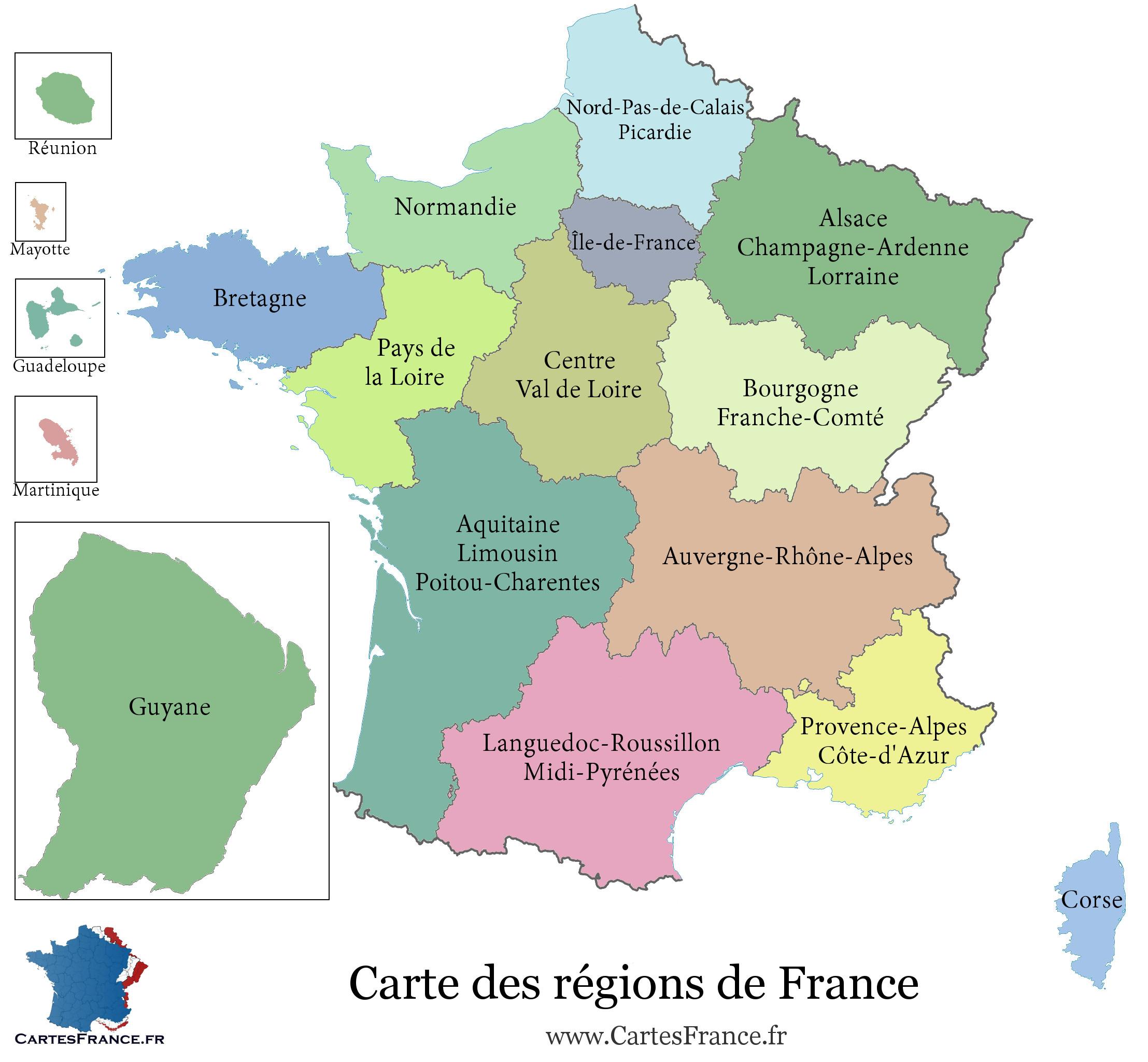 Carte De France Region - Carte Des Régions Françaises avec Les 22 Régions De France Métropolitaine