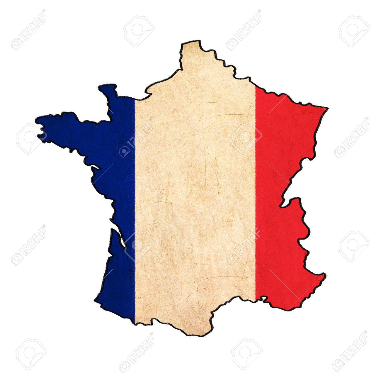 Carte De France Sur Le Dessin Drapeau France, Drapeau Grunge Et Rétro Série serapportantà Dessin De Carte De France