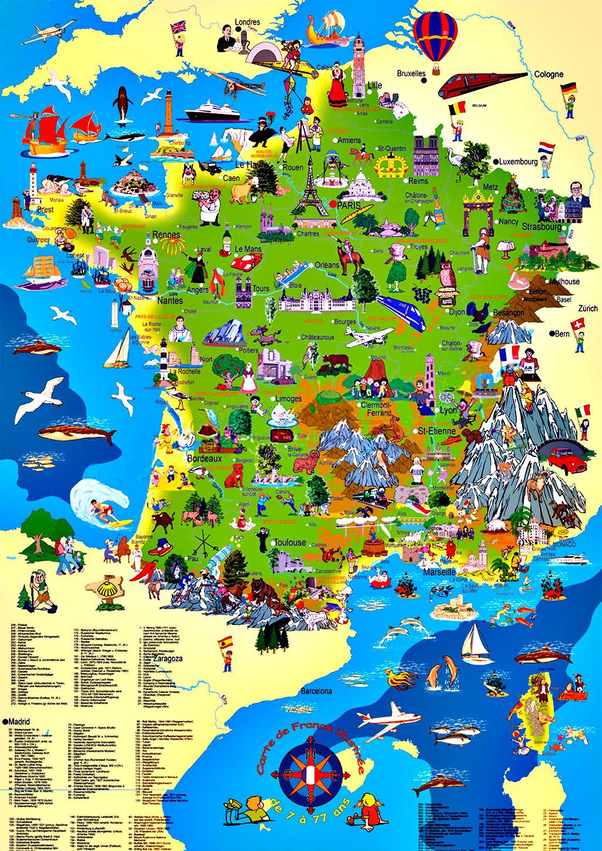 Carte De France Touristique » Vacances - Arts- Guides Voyages à Carte Du Sud Est De La France Détaillée