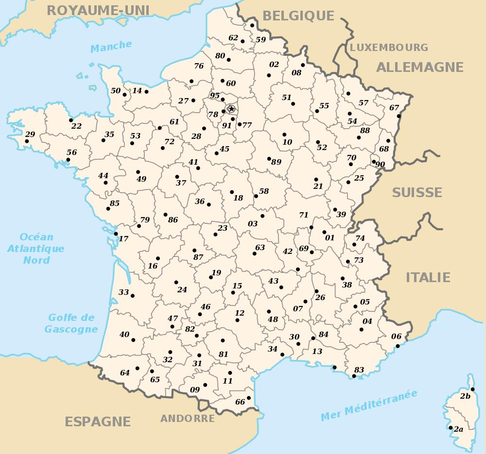 Carte De France Vierge Avec Departements dedans Carte De France Avec Villes Et Départements