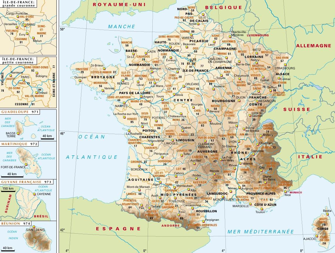 Carte De France Villes - Images Et Photos - Arts Et Voyages tout Carte De France Avec Villes Et Départements