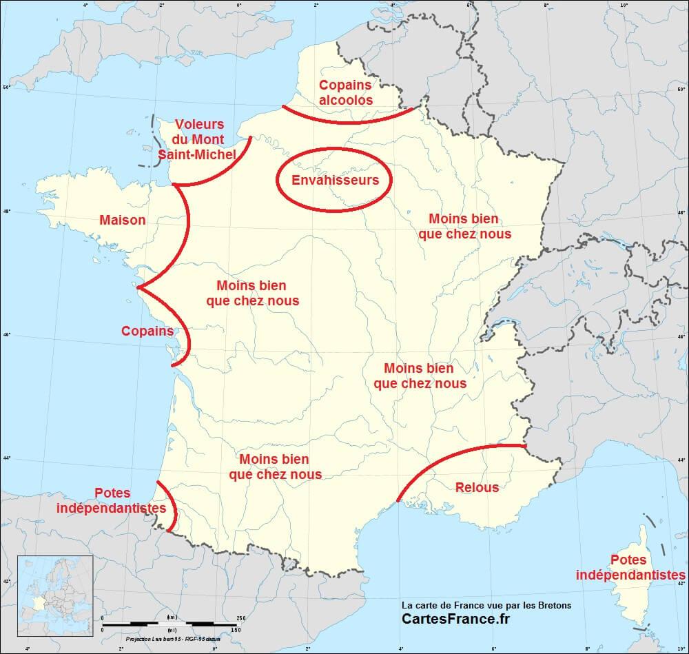 Carte-De-France-Vue-Par-Les-Bretons - Languages Of The World destiné Image De La Carte De France