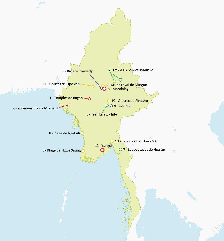 Carte De La Birmanie Détaillée À Imprimer: Les Endroits À pour Carte Du Sud Est De La France Détaillée