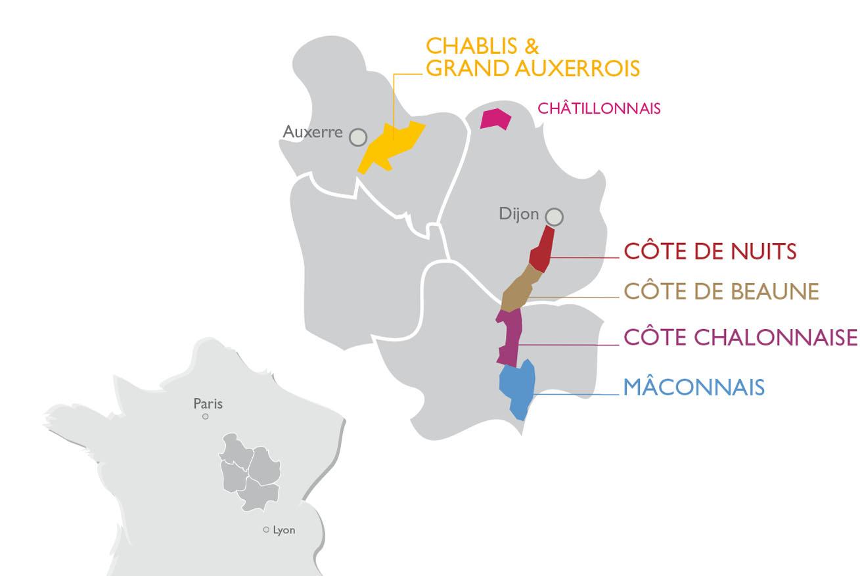 Carte De La Bourgogne Viticole Et Ses Cinq Régions - Vins De dedans La Carte De France Et Ses Régions