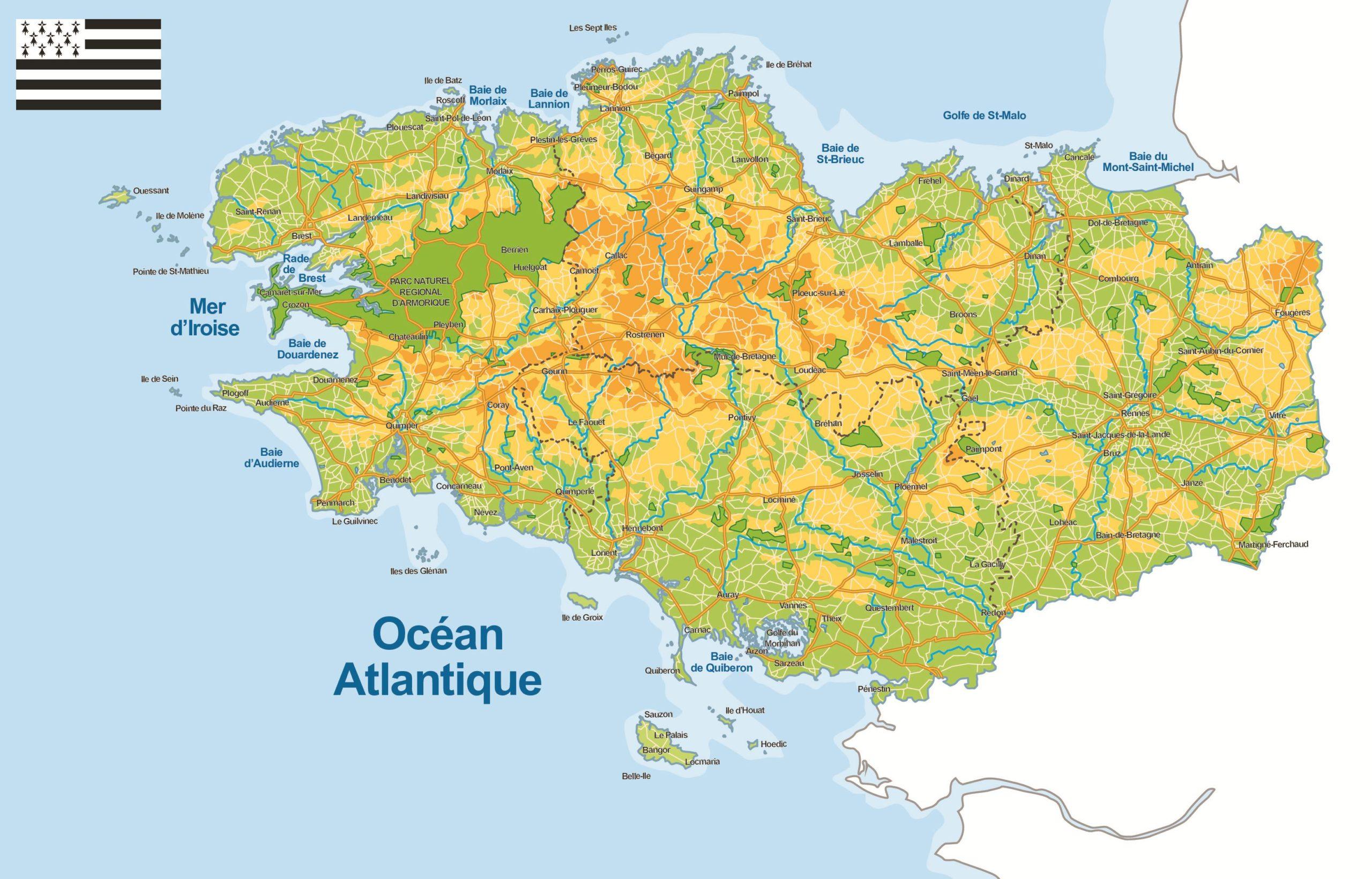 Carte De La Bretagne (Administrative) - Villes, Relief à Carte Des Départements D Ile De France