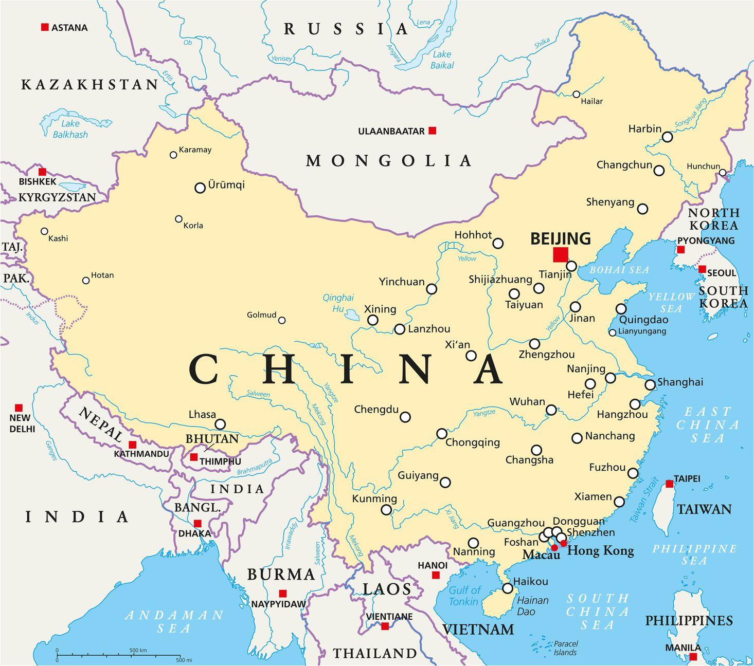 Carte De La Chine - Relief, Villes, Carte Administrative Et avec Carte De France Avec Les Fleuves
