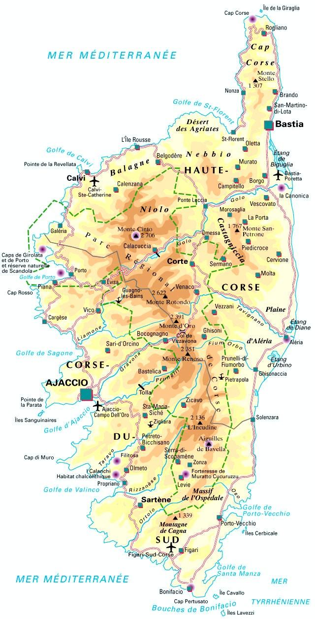 Carte De La Corse (Département 2A - 2B) serapportantà Carte Routiere France Gratuite