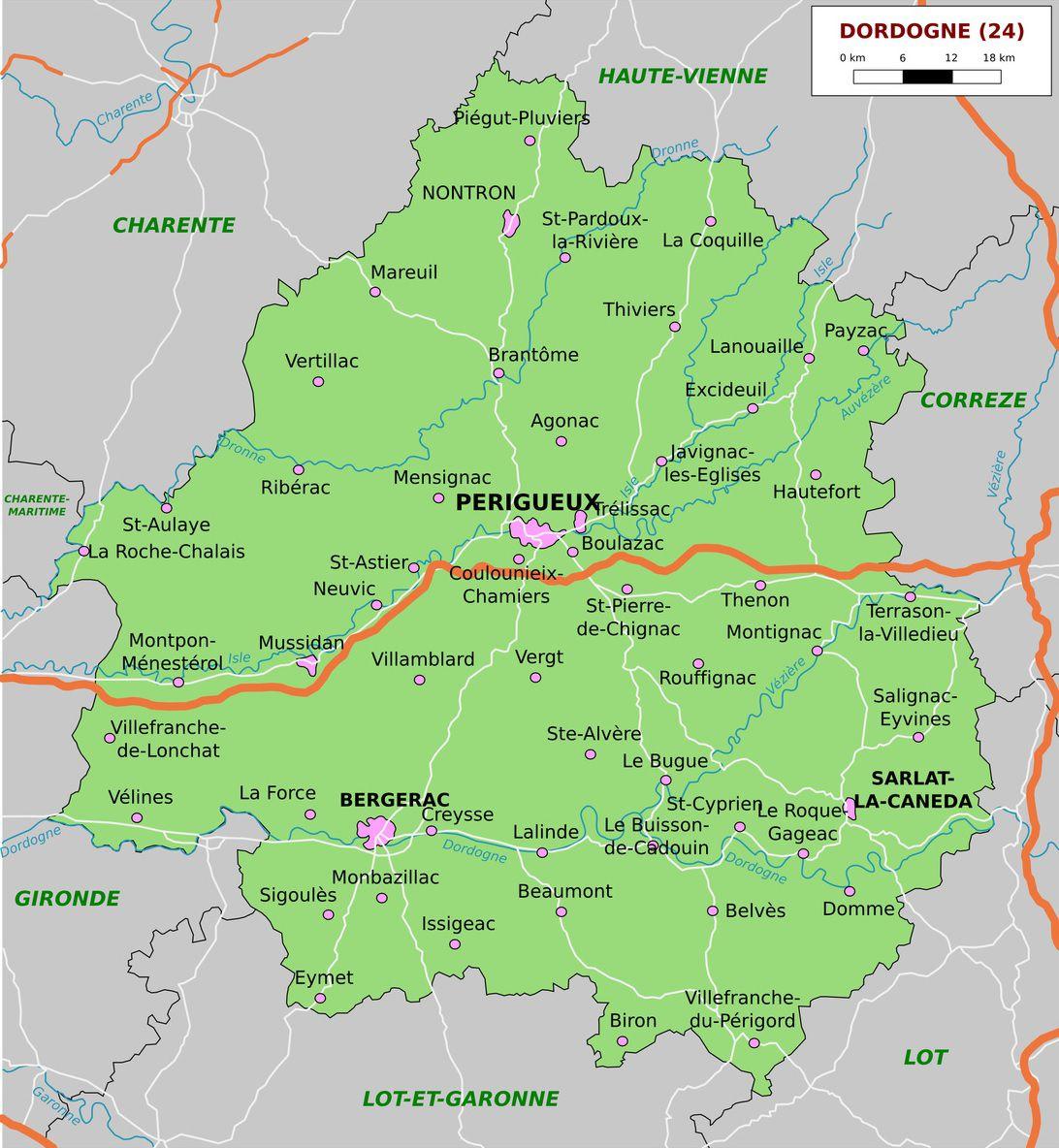 Carte De La Dordogne - Dordogne Carte Des Villes, Communes concernant Carte Du Sud De La France Détaillée