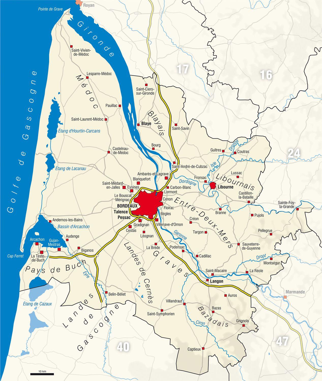 Carte De La Gironde - Gironde Carte Des Villes, Communes à Carte De France Détaillée Avec Les Villes