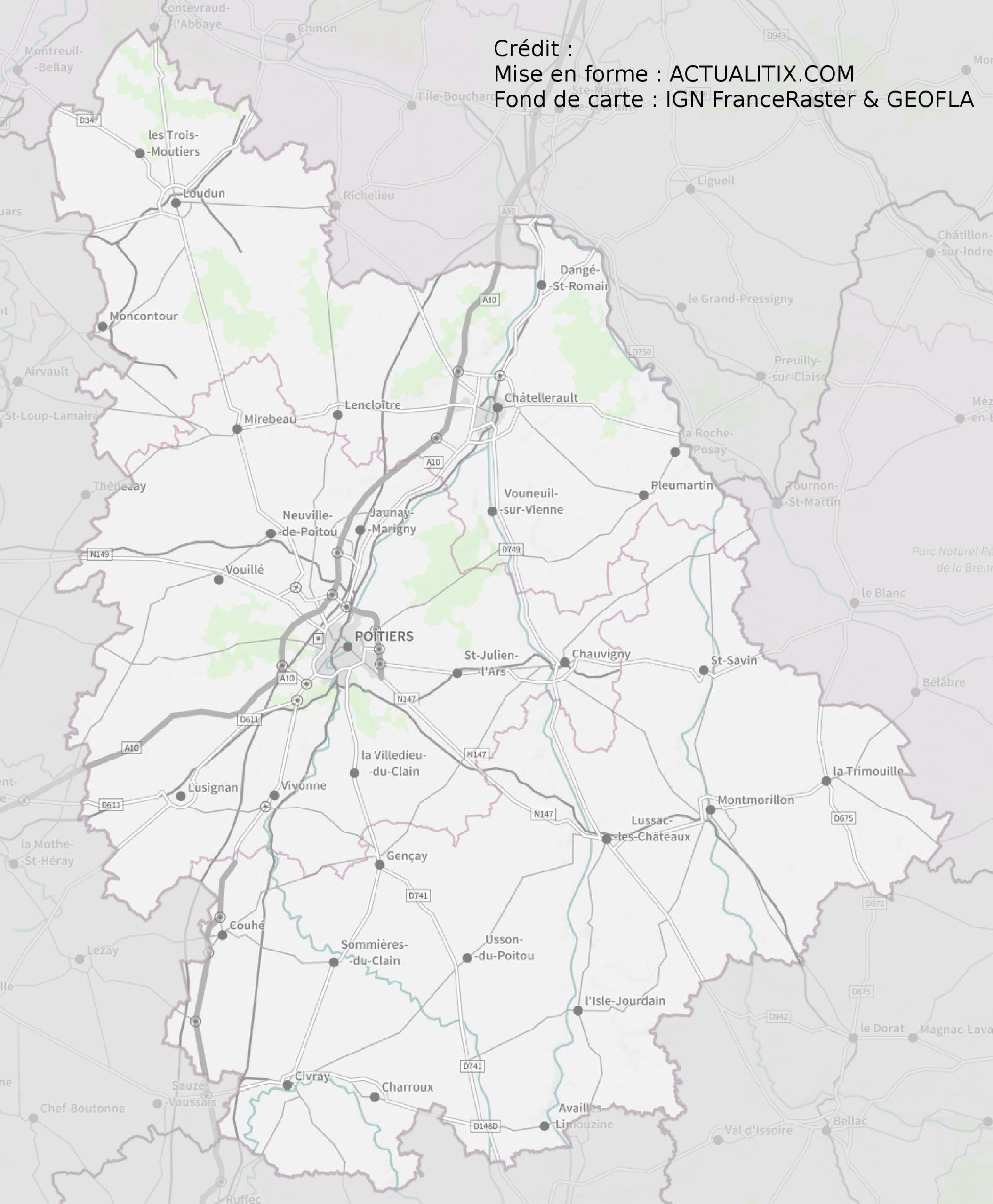 Carte De La Vienne - Vienne Carte Du Département 86 - Villes intérieur Carte De Departement A Imprimer