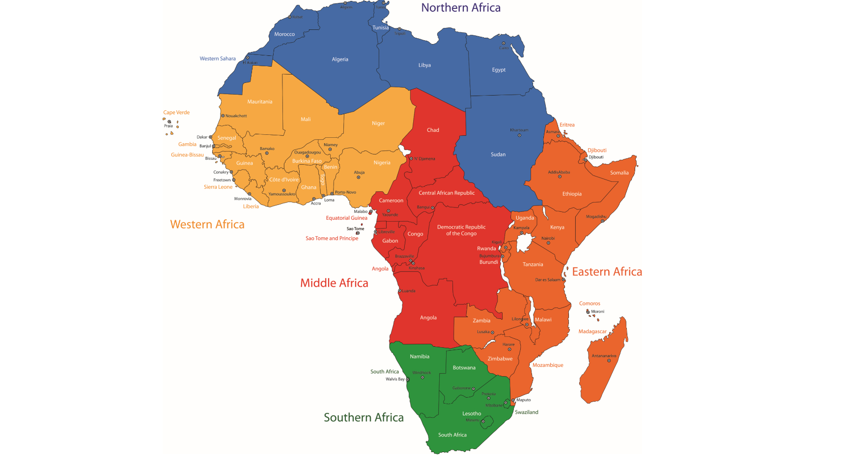 Carte De L'afrique Avec Ses Capitales : Nos Explications pour Pays Et Leurs Capitales
