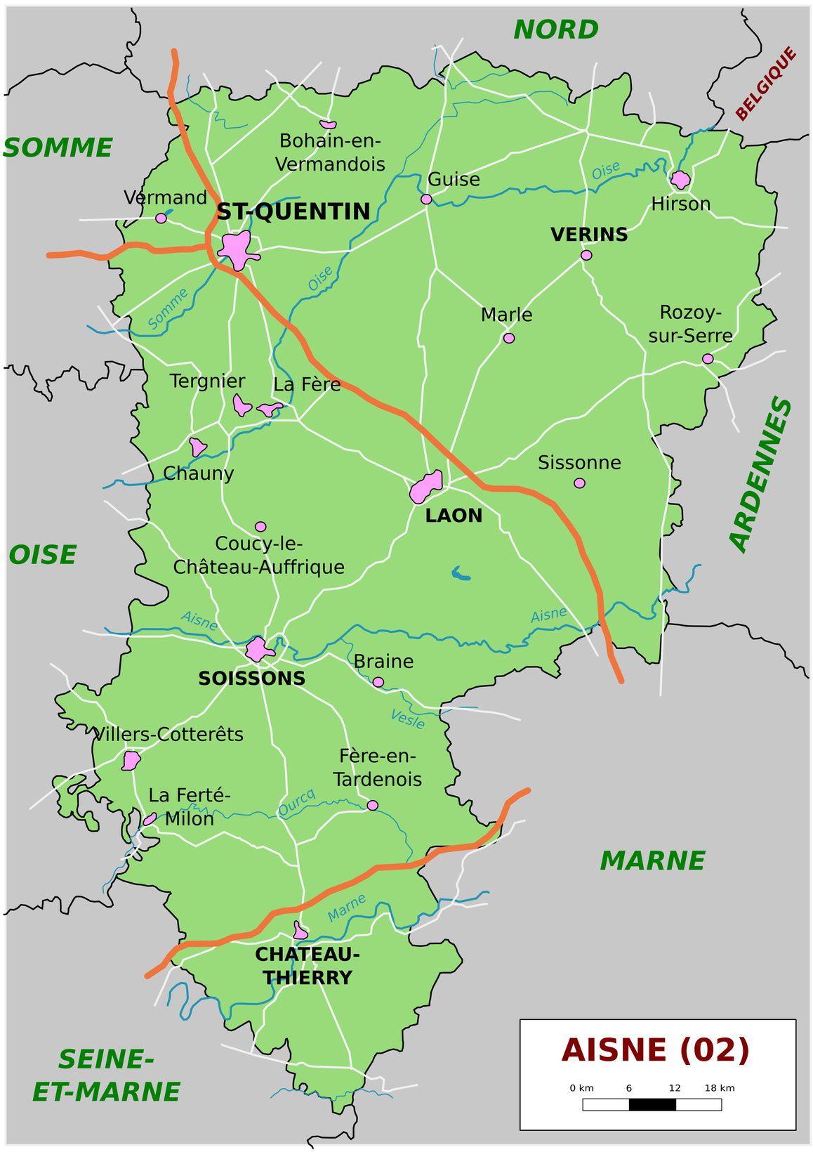 Carte De L'aisne - Aisne Carte Du Département 02 - Villes concernant Carte Des Départements Et Villes