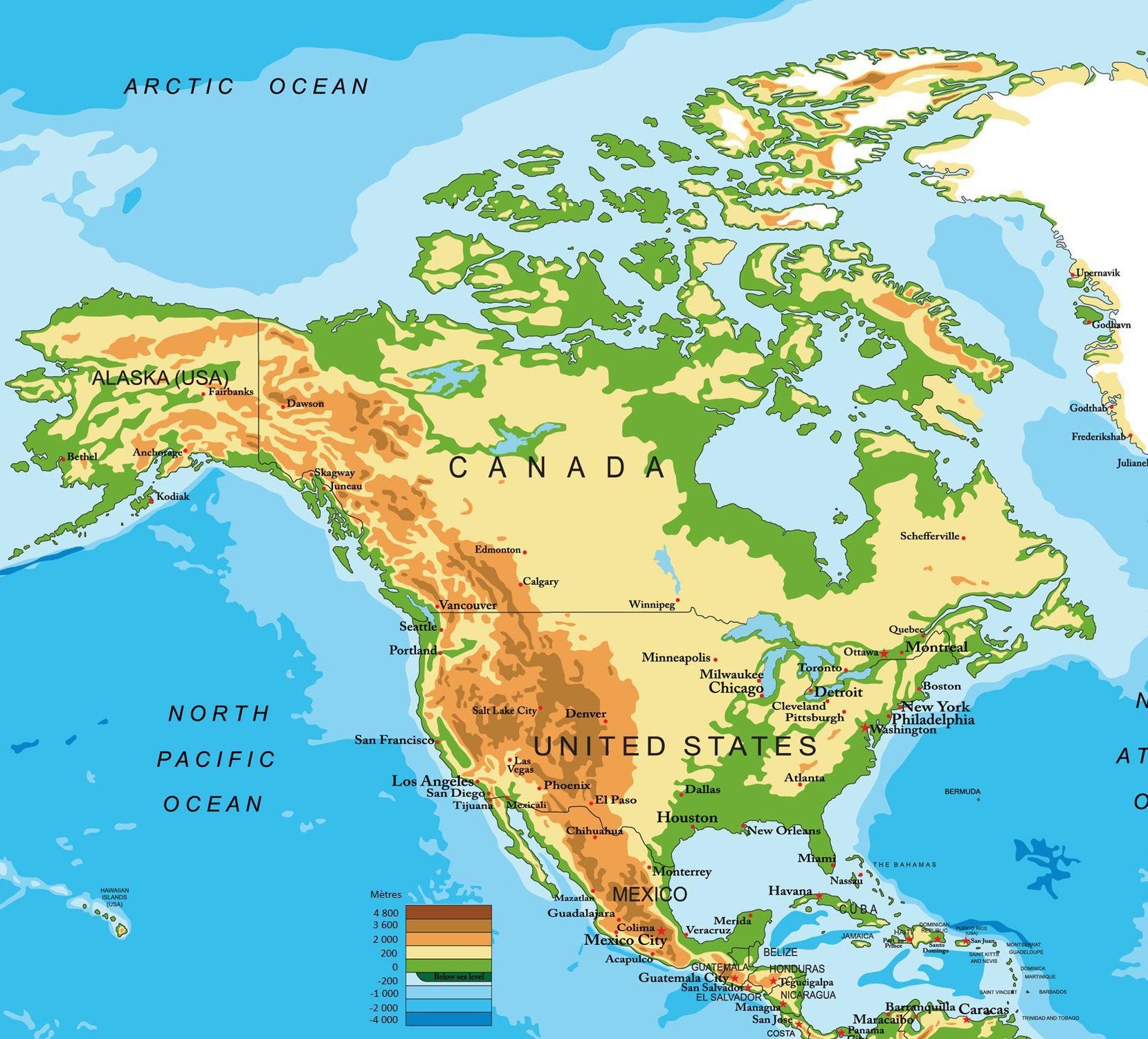 Carte De L'amérique Du Nord Et Centrale - Pays, Relief intérieur Carte De L Europe En Relief