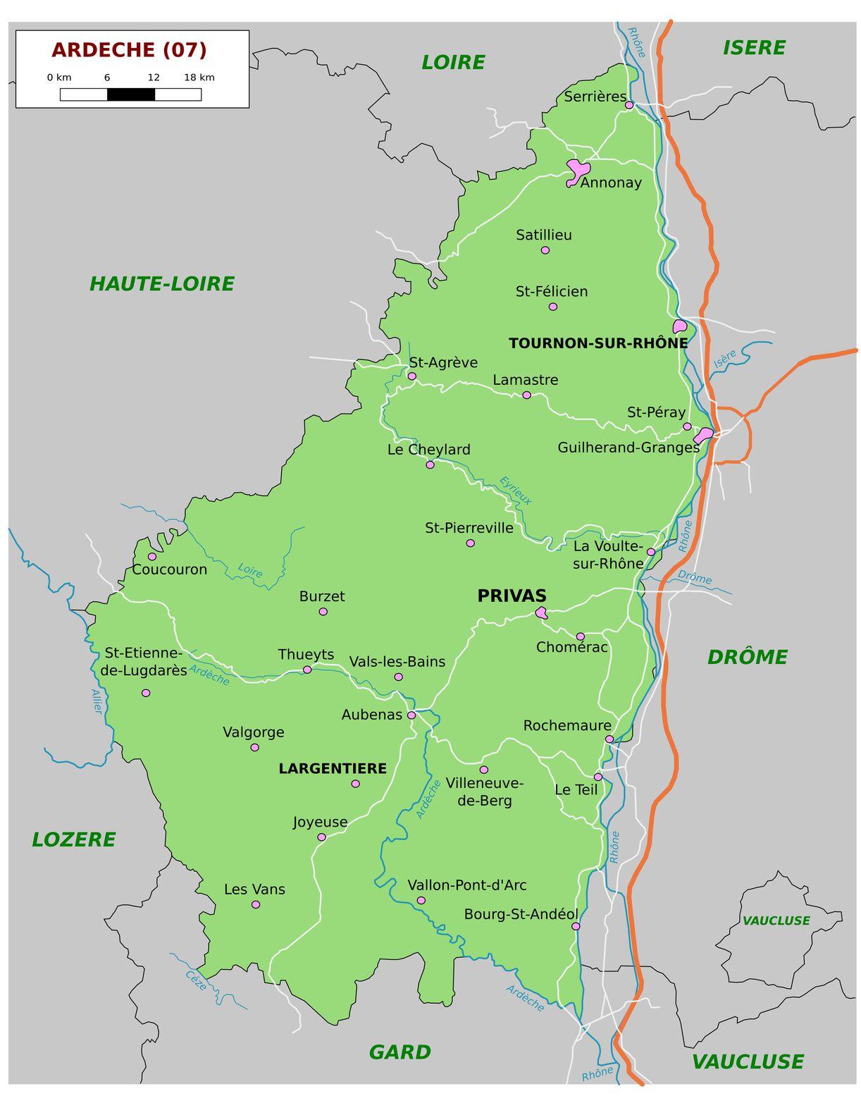 Carte De L'ardèche - Ardèche Carte Des Villes, Communes pour Carte Des Départements Et Villes