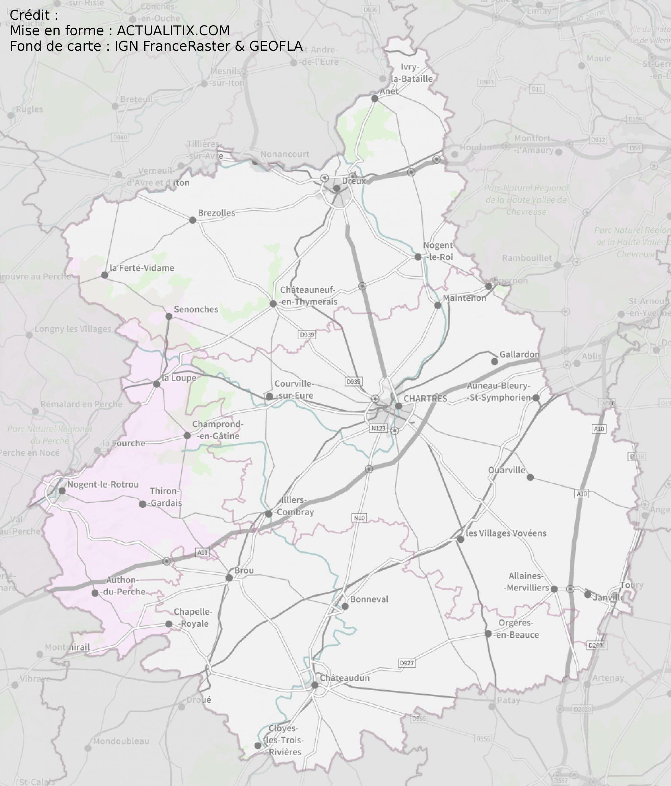 Carte De L'eure-Et-Loir - Eure-Et-Loir Carte Département 28 intérieur Carte De Departement A Imprimer