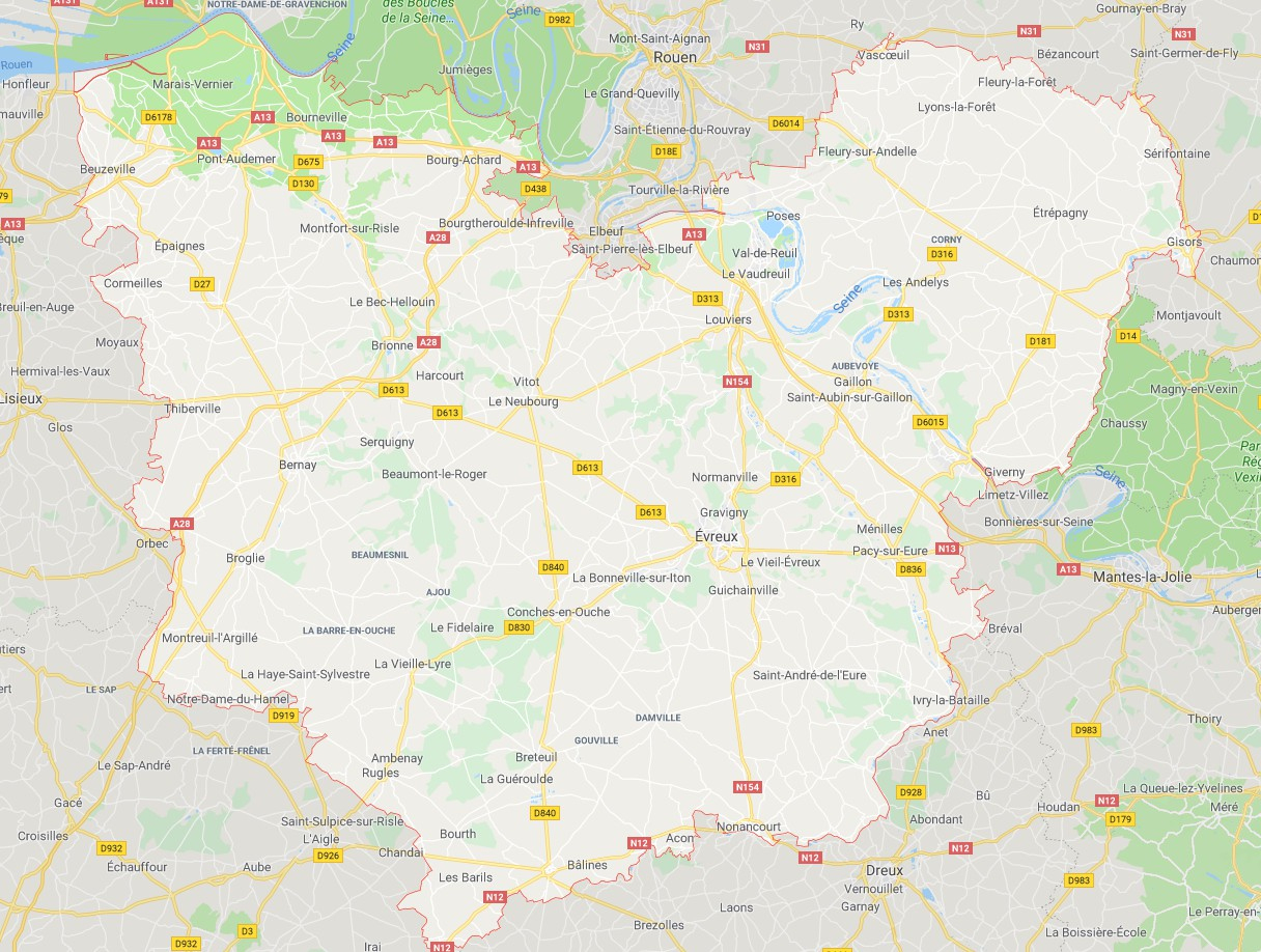 Carte De L'eure - Eure Carte Du Département 27 - Villes à Carte De Departement A Imprimer